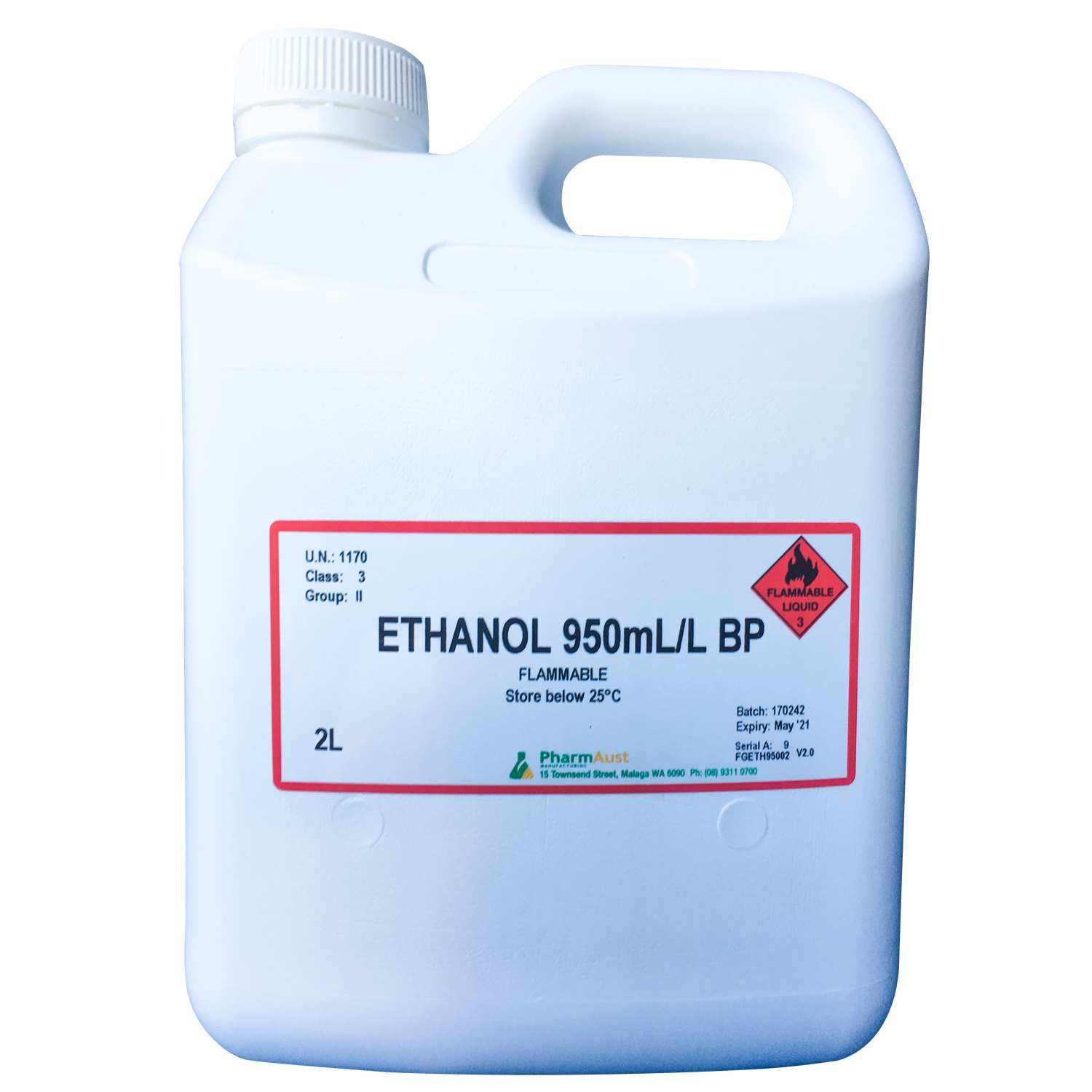 ETHANOL 95% BP - PharmAust Manufacturing - Health Products made in