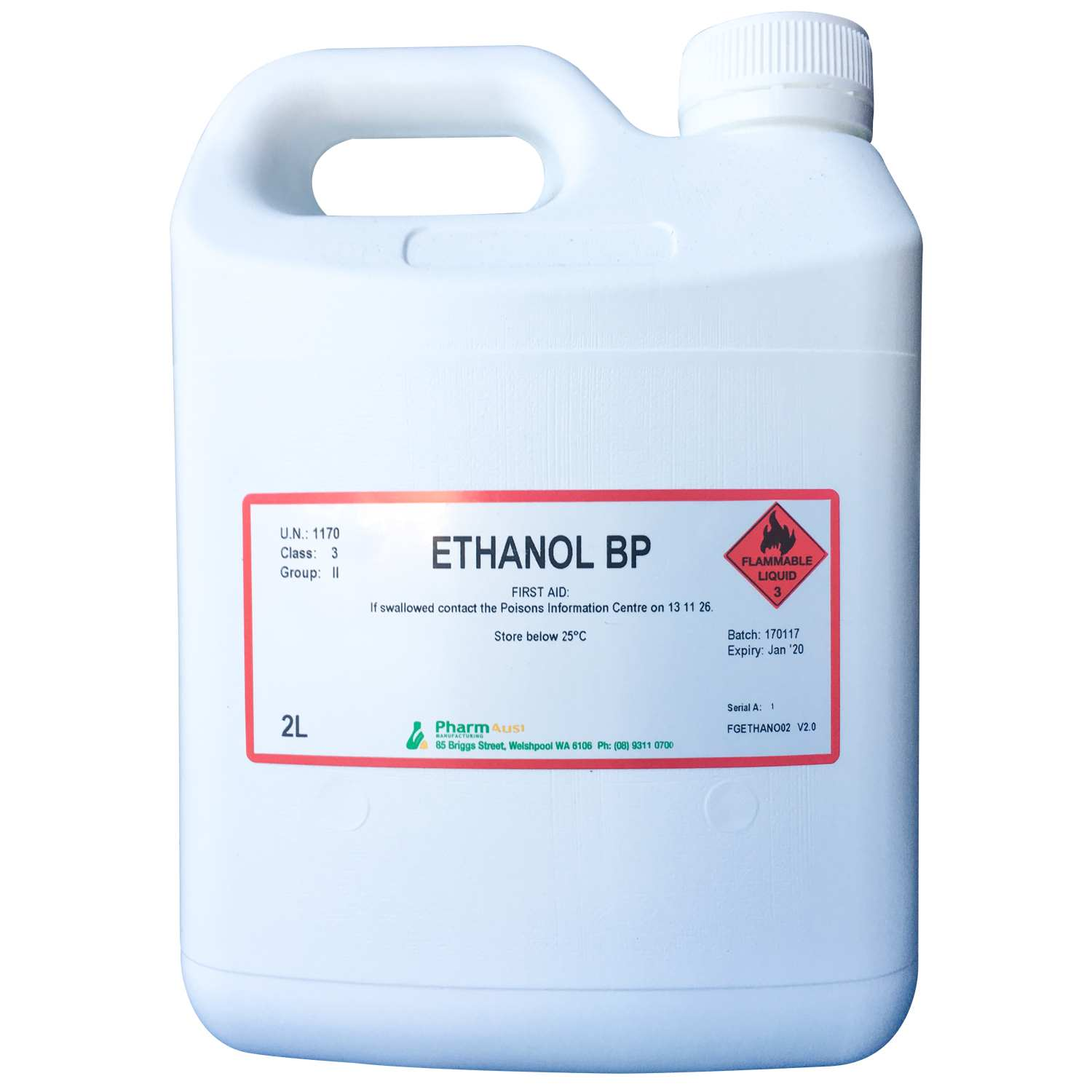 ETHANOL ABSOLUTE 100% BP - PharmAust Manufacturing - Health Products